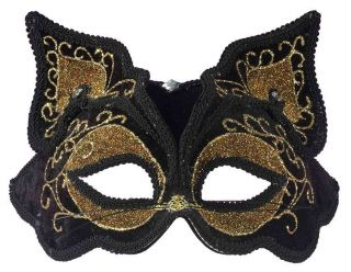 Womens Venetian Mardis Gras Masquerade Halloween Black Cat Mask Adult