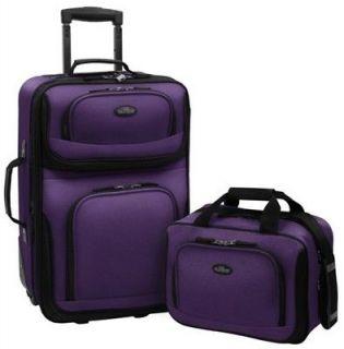 21 wheeled rolling SUITCASE Luggage Expandable + Tote set NEW purple