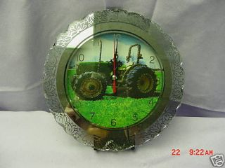 John Deere Tractor Clock, glass, battery operated, NIB