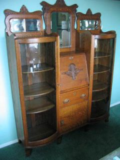 Antique OHIO Victorian DOUBLE Side by Side OAK SECRETARY Bow Front