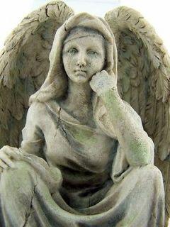 Sorrowful Angel w Wings Flower Ribbon Wreath Base Statue Figure