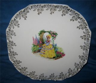 VINTAGE LORD NELSON POTTERY TEA POT STAND CRINOLINE LADY GOLD FLORAL