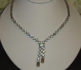 Vintage Signed KRAMER Clear Rhinestone Dangle Necklace Baguette