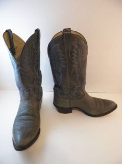 Vintage Justin Leather Western Cowboy Boots Mens 10EE 2 Tone Gray