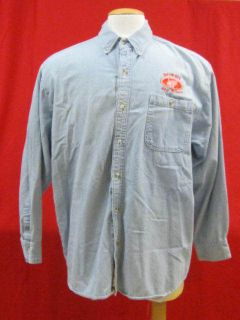 LA LOVING Light Blue Denim Long Sleeve Shirt with DETROIT REDWINGS