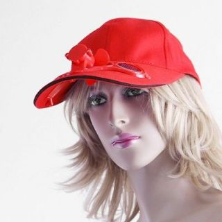 Solar Power Hat Cap with Cooling Fan Red for Outdoor Golf Baseball