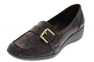 Karen Scott NEW Samor Brown Patent Crocodile Print Wedge Loafer Heels