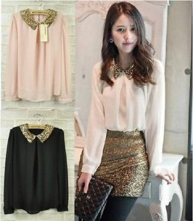 SEQUINED COLLARED WOMEN CHIFFON BLOUSE SHIRT S/M BLACK/PINK/WHITE