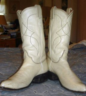 Vintage Ladies Tony Lama Water Buffalo Off White Cowboy Western Boot 6