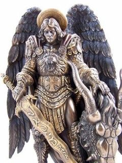 Bronze Protector St Saint Michael Angel Statue Figure Sculpture 11