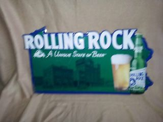 rolling rock tin bar sign time left $ 17 50