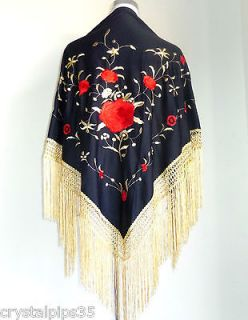 New Beautiful Large Spanish Flamenco Dance Shawl Black Red & Gold