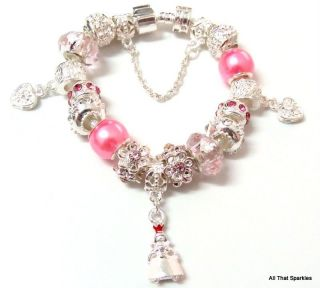 pink princess heart child girls charm bracelet from australia time