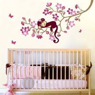 Monkey On The Tree Pink Flower Butterfly Cute Room Wall Sticker Decal