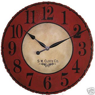 large wall clock 24 antique red tan rustic round big