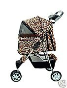 All Terrain Extra Wide Leopard Skin 3 Wheels Pet Dog Cat Stroller w