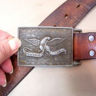 Vintage Levis Brown Leather Belt & Buckle with Eagle Icon Size Small