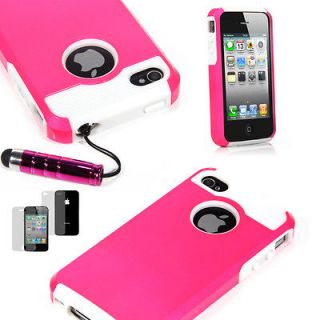 Hybrid Rugged Rubber Matte Hard Case Cover For iPhone 4 4S +Screen