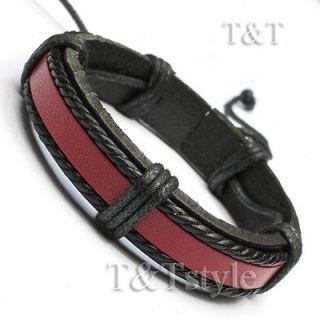 black red leather bracelet wristband lb234 from australia
