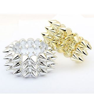 New Fashion Lady Punk Style 3 Lines Spike Hedgehog Rivets Bracelet
