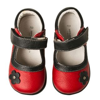 Little Blue Lamb Red Flower Mary Janes Leather Shoes Toddler Girl Sz 6