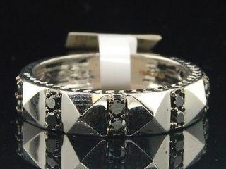 Mens 10K White Gold Black Diamond Engagement Ring Desinger Wedding