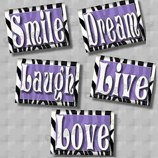purple zebra print smile dream live love laugh quote art