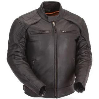 Mens Black Leather Motorcycle Jacket with Multiple Vents with