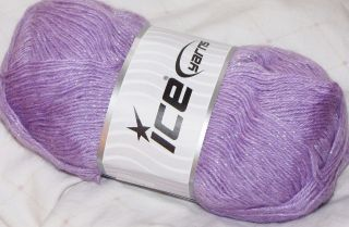 ICE balls yarn knitting Angora wool lurex 100gr ball super soft Lilac