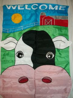 WELCOME TO THE BARNYARD APPLIQUED LARGE FLAG 28x44 W/RED BARN & COW