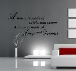 HOME IS MADE OF LOVE & DREAMS Wall Art Sticker Mural Decal quote