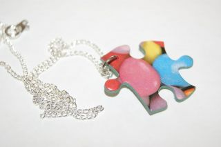 JIGSAW PUZZLE PIECE CHARM NECKLACE WITH SILVER LINK CHAIN COOL GAME