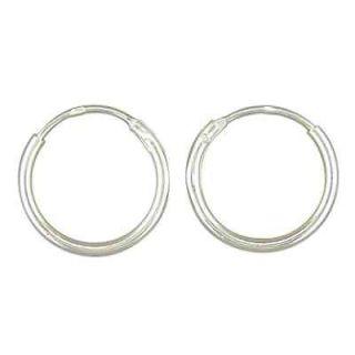 Sterling Silver Little Sleeper Hoop Earrings 1mm x 12mm   Genuine 925