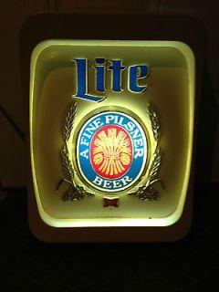 Vintage Miller Lite Beer Light Up Sign 1970s Rare Bar Pub Sign