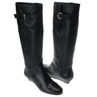 STEVEN by Steve Madden Womens Intyce Black Leather Riding Boots