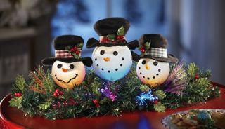 CHRISTMAS FIBER OPTIC SNOWMAN TABLE DECOR HOLIDAY CENTERPIECE NEW