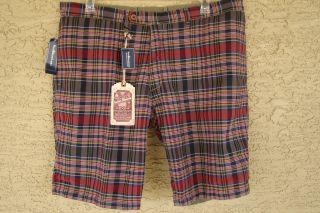 nwt polo ralph lauren shorts reversible $ 89 madras 40