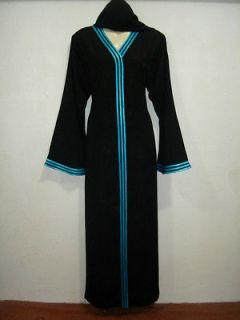 Modest Muslim Jilbab Ferozi Ribbon Abaya Hejab/Scarf Caftan Islamic
