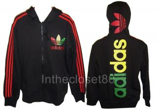 NEW ADIDAS LINEAR FLEECE RASTA MENS TRACK TOP HOODY JACKET BLACK/RASTA