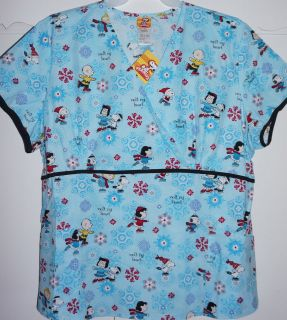 Christmas Peanuts Snoopy Medical Scrub Uniform Mock Wrap Top NWT L, XL