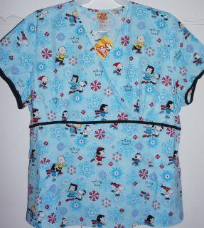 Christmas Peanuts Snoopy Medical Scrub Uniform Mock Wrap Top NWT L, XL