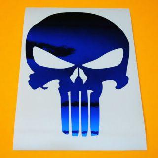 punisher skull blue chrome decal sticker+ bonus decal returns not