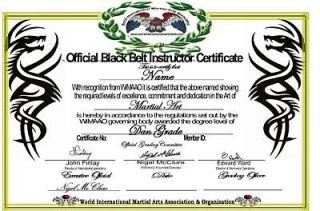 martial arts black belt certificate all styles grades  28
