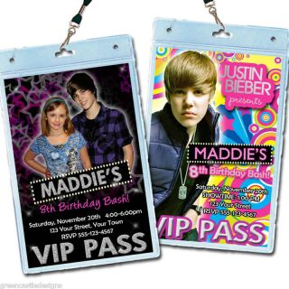 justin bieber birthday party invitations favors vip  2 00