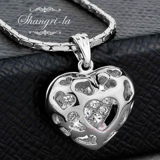 18K White GOLD GP Hollow HEART NECKLACE Genuine SWAROVSKI CRYSTAL L154