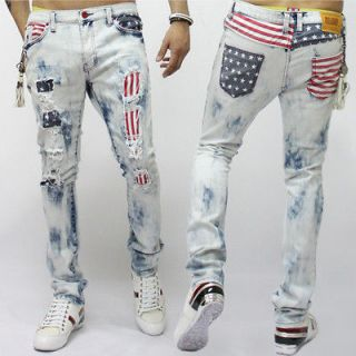 new mens fashion us flag printed vintage ripped jean