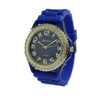 NEW Geneva SILICONE RUBBER JELLY WATCH with CRYSTALS Bling Designer