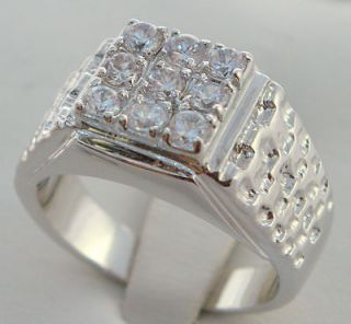 stone nugget mens ring white gold overlay size 11