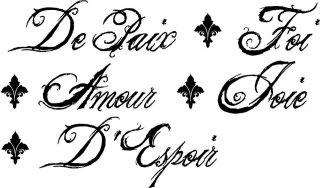 Wall Decal Sticker Words French Faith hope love joy peace fleur de