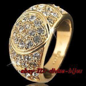 WHITE Swarovski Crystal 18K GOLD PLATED MENS WEDDING RING ,9#